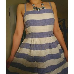 Summer LOFT stripe linen dress SIZE 4